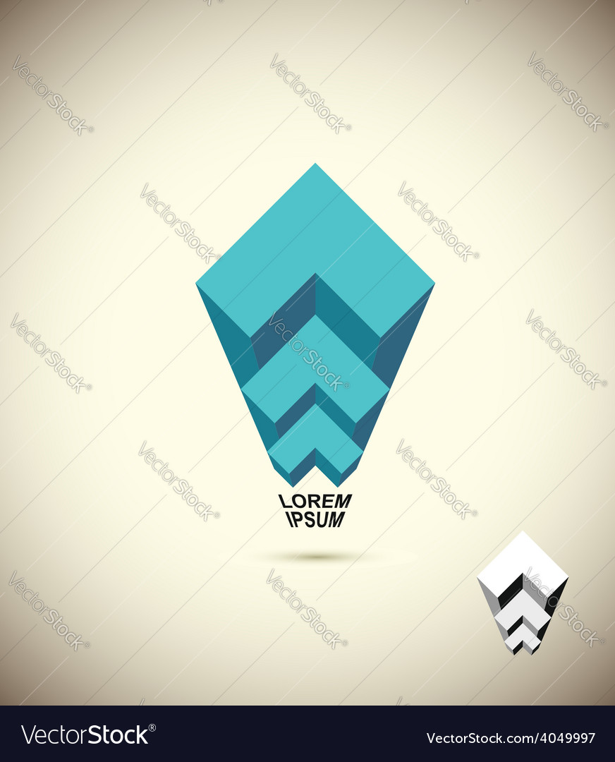 Abstract logo vista 3d business icon the concept vector | Price: 1 Credit (USD $1)