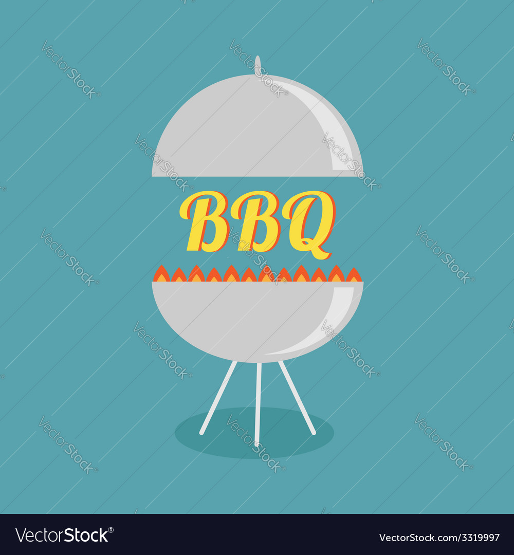 Bbq grill with fire party invitation card flat des vector | Price: 1 Credit (USD $1)