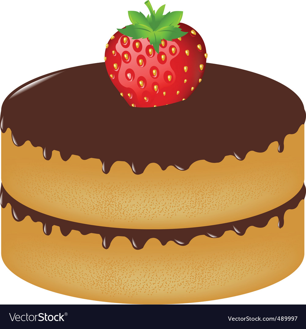 Birthday cake wit strawberry vector | Price: 1 Credit (USD $1)