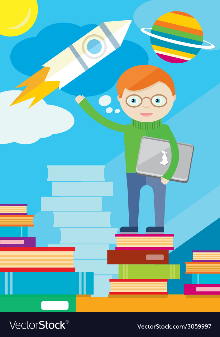 Boy with laptop in hand stands on books and shows vector | Price: 1 Credit (USD $1)