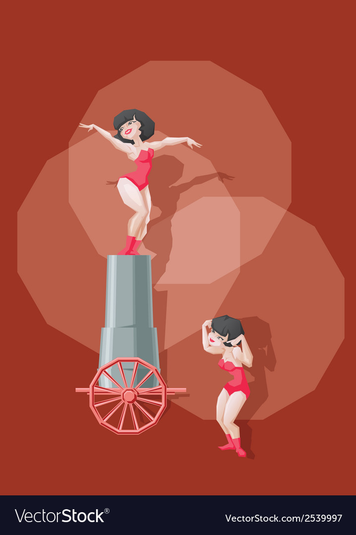 Circus performer make stunt with fly from big gun vector | Price: 3 Credit (USD $3)