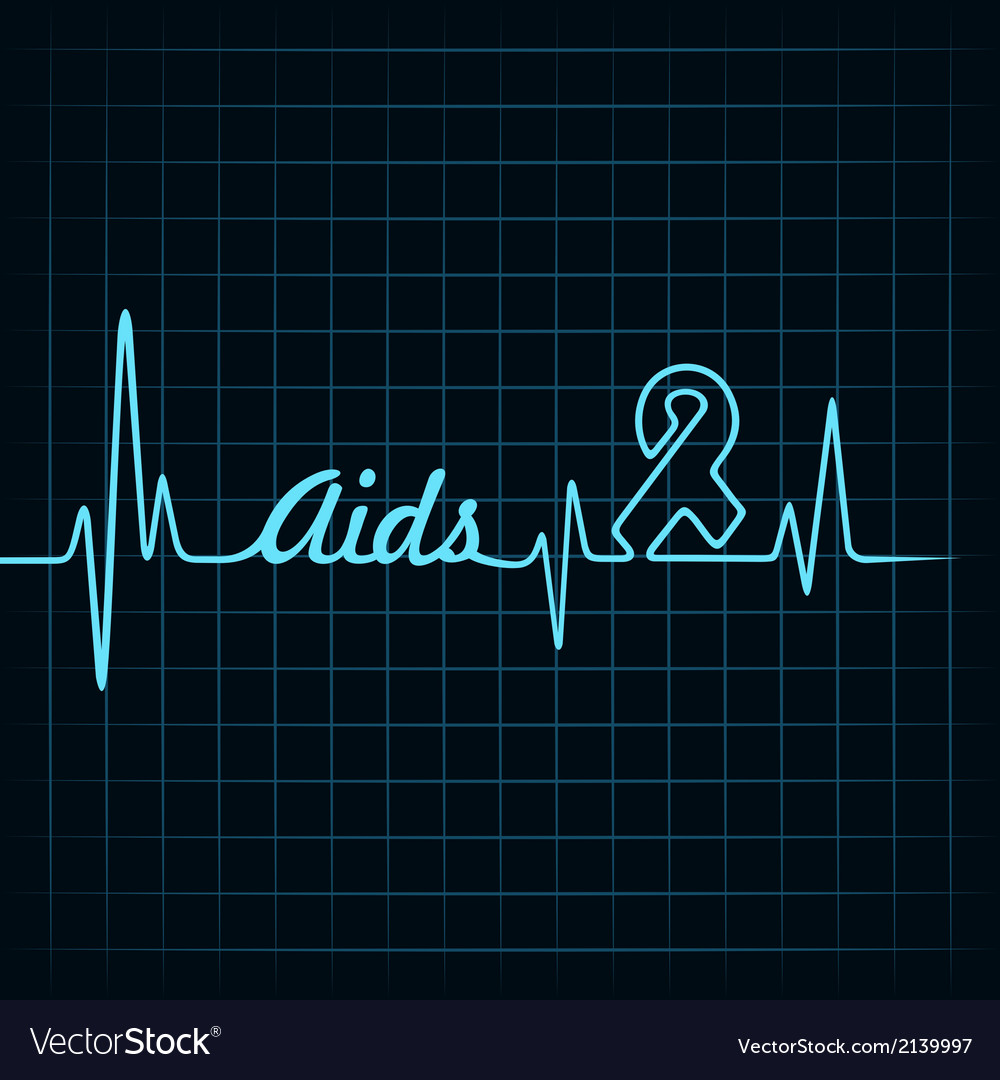 Heartbeat make aids word and symbol vector | Price: 1 Credit (USD $1)