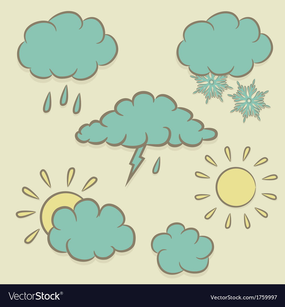 Icons images of weather vector | Price: 1 Credit (USD $1)