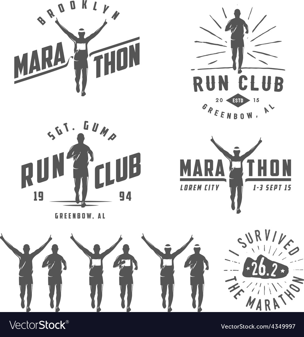 Set of run club labels emblems and design element vector | Price: 1 Credit (USD $1)