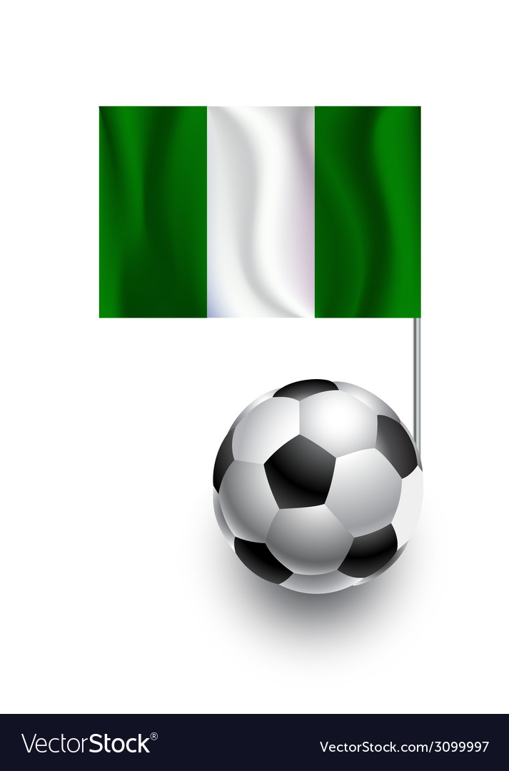 Soccer balls or footballs with flag of nigeria vector | Price: 1 Credit (USD $1)