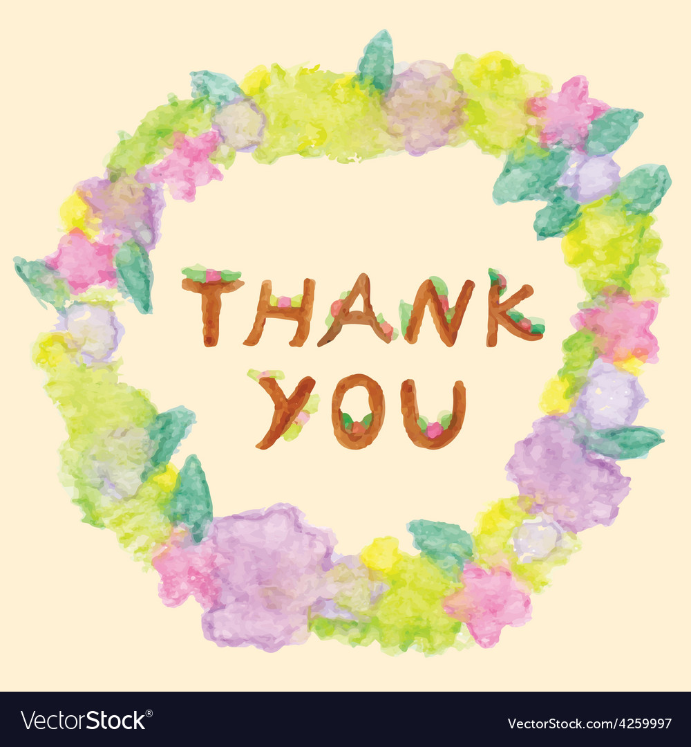 Thank you word in floral frame vector | Price: 1 Credit (USD $1)