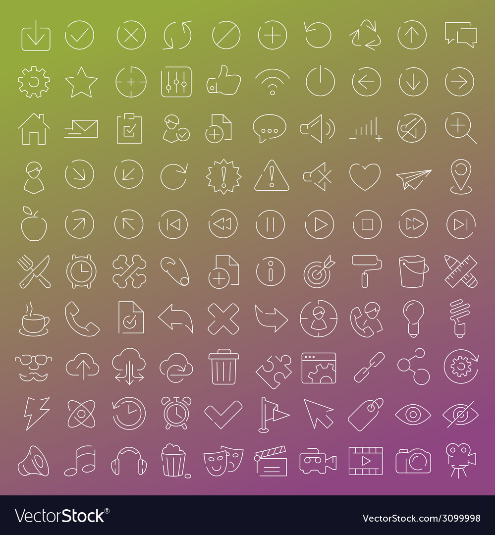 100 clear line icons set vector | Price: 1 Credit (USD $1)
