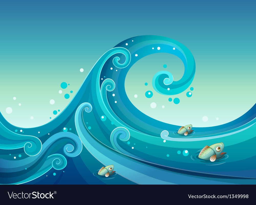 A big wave in the sea with fishes vector | Price: 1 Credit (USD $1)