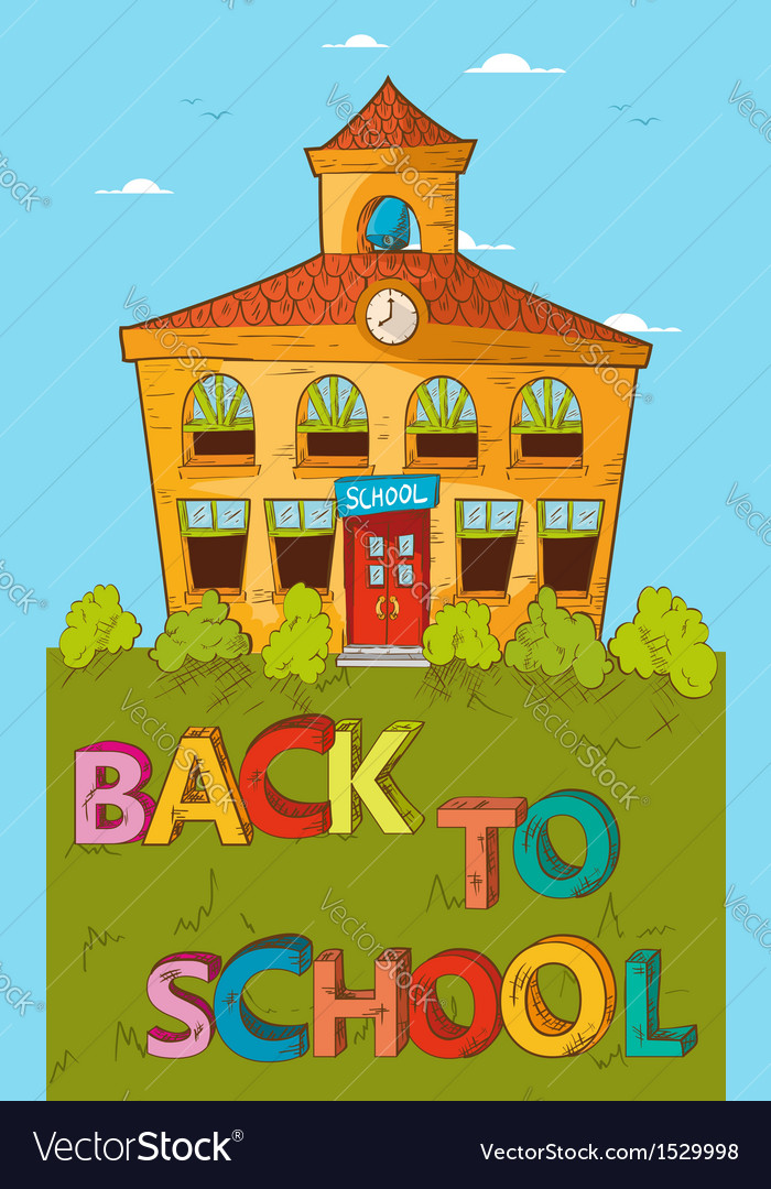 Back to school concept colorful school house vector   Price: 1 Credit (USD $1)