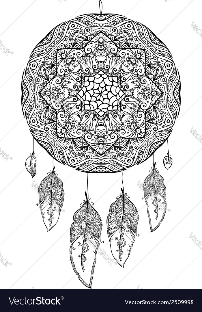 Black and white doodle dream catcher vector | Price: 1 Credit (USD $1)