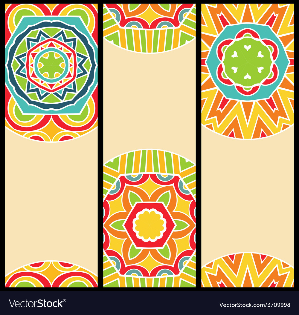 Bright ethnic patterns at set of cards vector | Price: 1 Credit (USD $1)