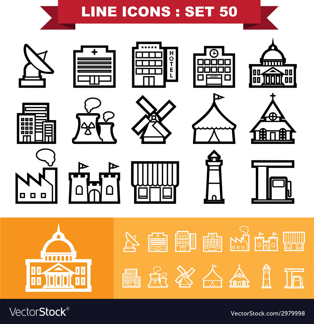 Building and landmark line icons set 48 vector | Price: 1 Credit (USD $1)