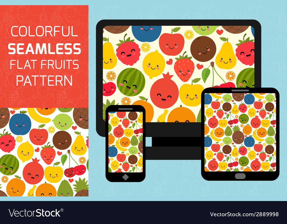 Fruits seamless pattern background colorful vector | Price: 1 Credit (USD $1)