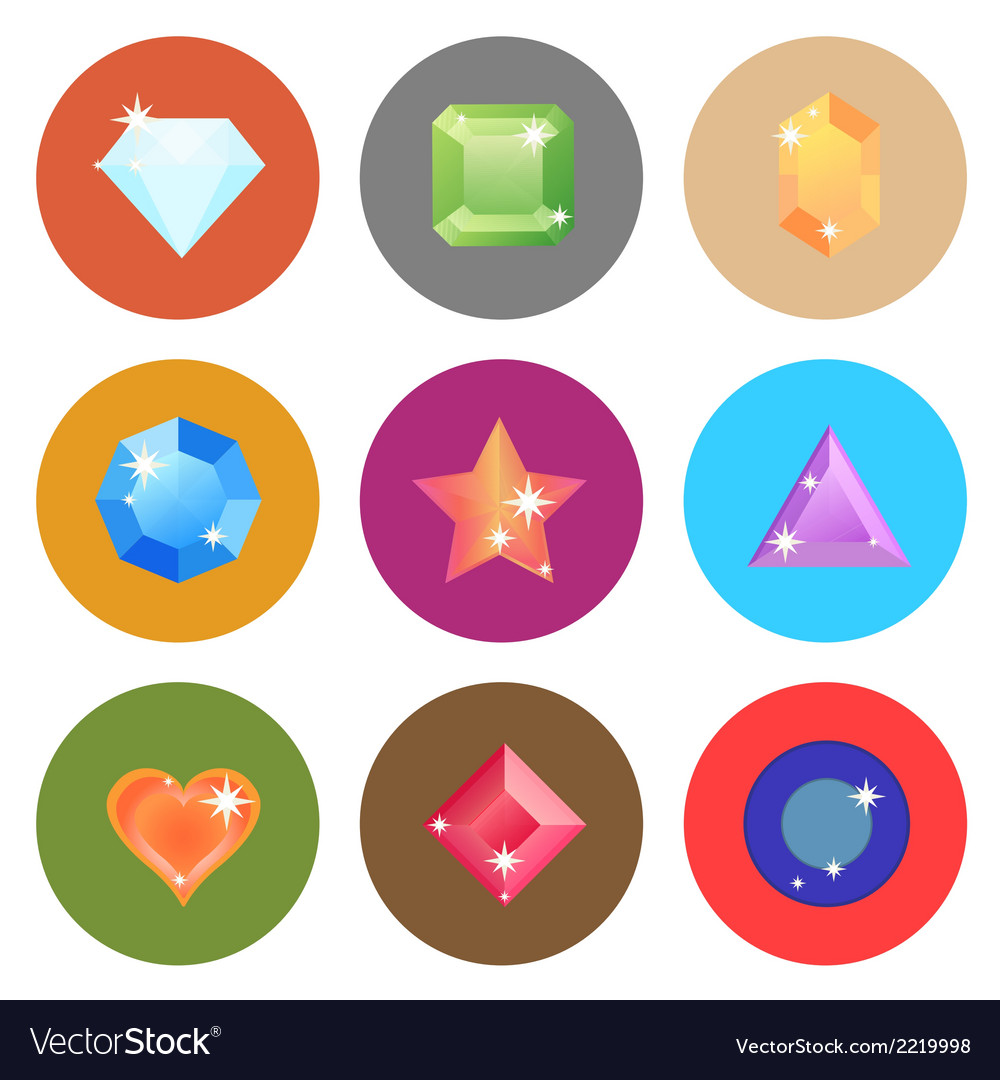 Gem stone flat color icons on white background vector | Price: 1 Credit (USD $1)