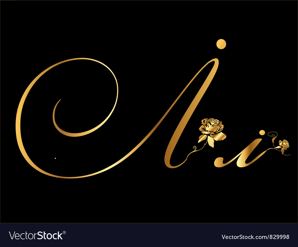 Gold letter i with roses vector | Price: 1 Credit (USD $1)