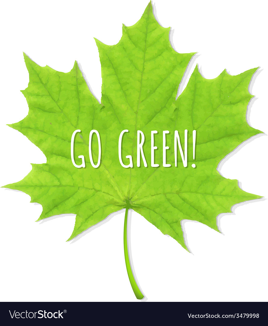 Green leaf go green vector | Price: 1 Credit (USD $1)