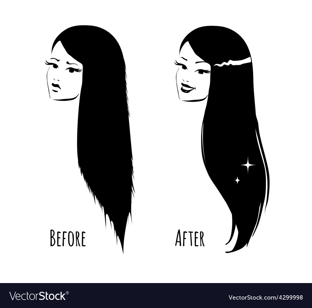 Hair before and after vector | Price: 1 Credit (USD $1)
