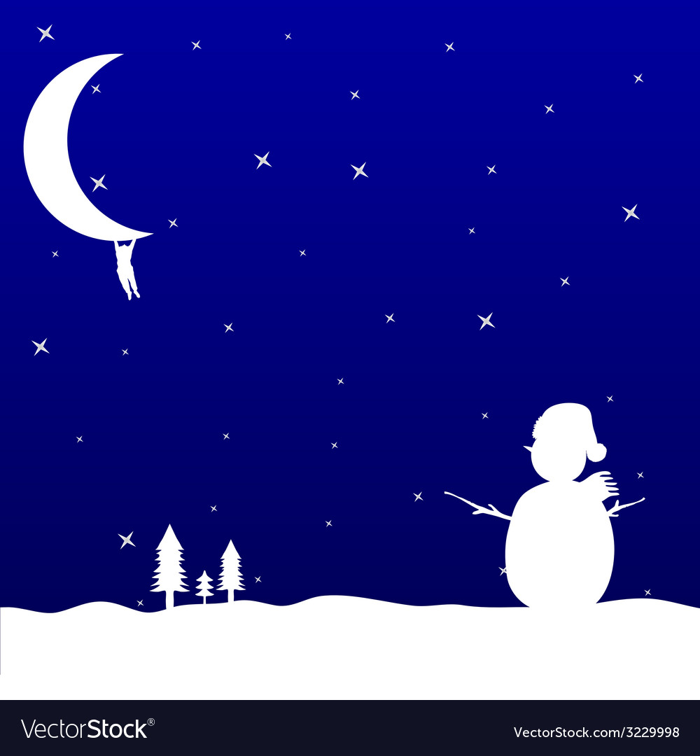 Man hanging on the moon and snowman vector | Price: 1 Credit (USD $1)