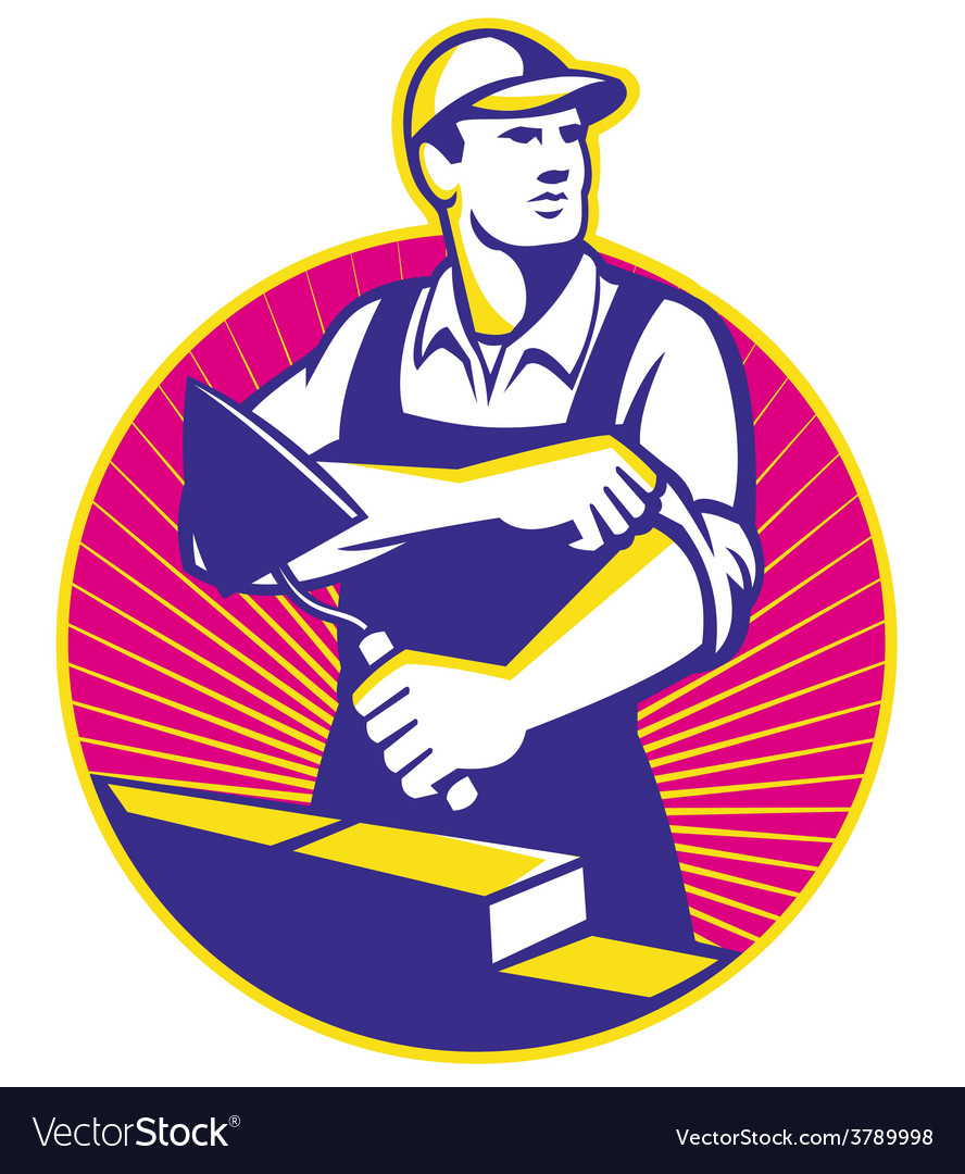 Mason masonry construction worker trowel vector | Price: 1 Credit (USD $1)