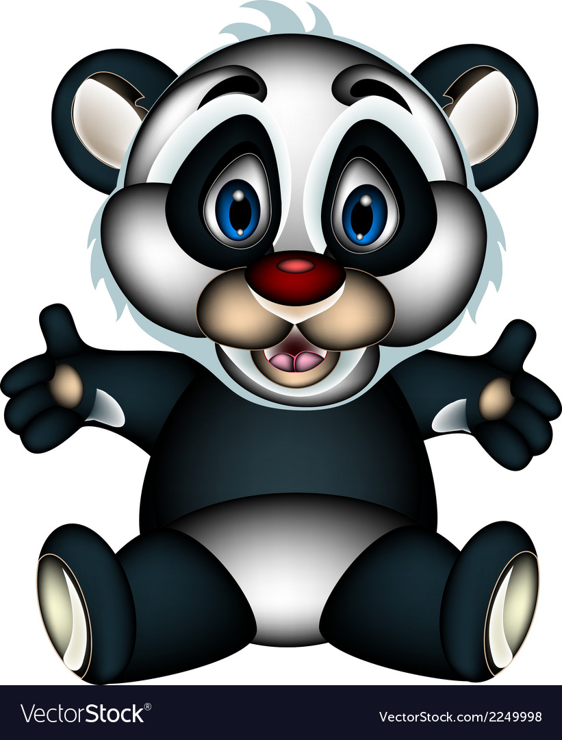 Panda cartoon sitting vector | Price: 1 Credit (USD $1)