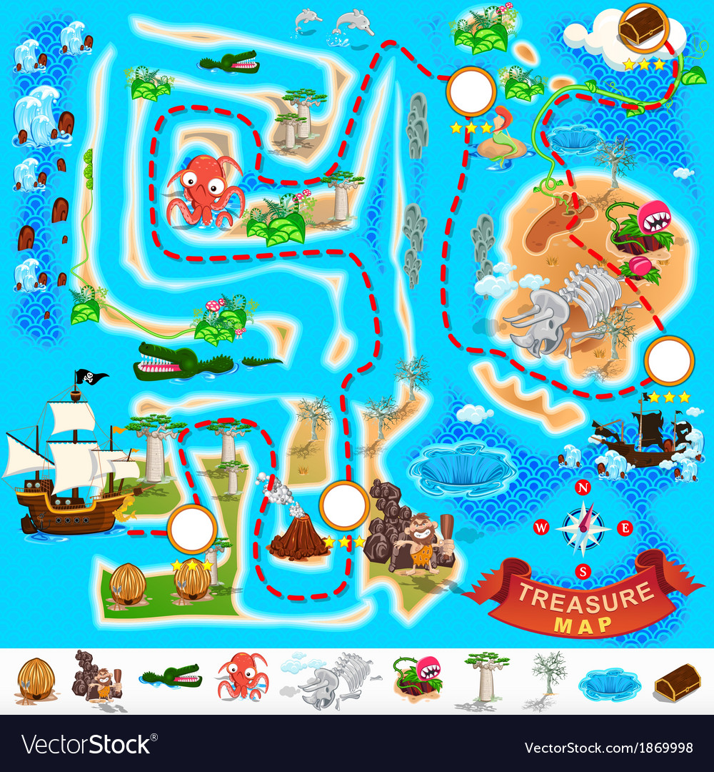 Pirate treasure map labyrinth vector | Price: 3 Credit (USD $3)