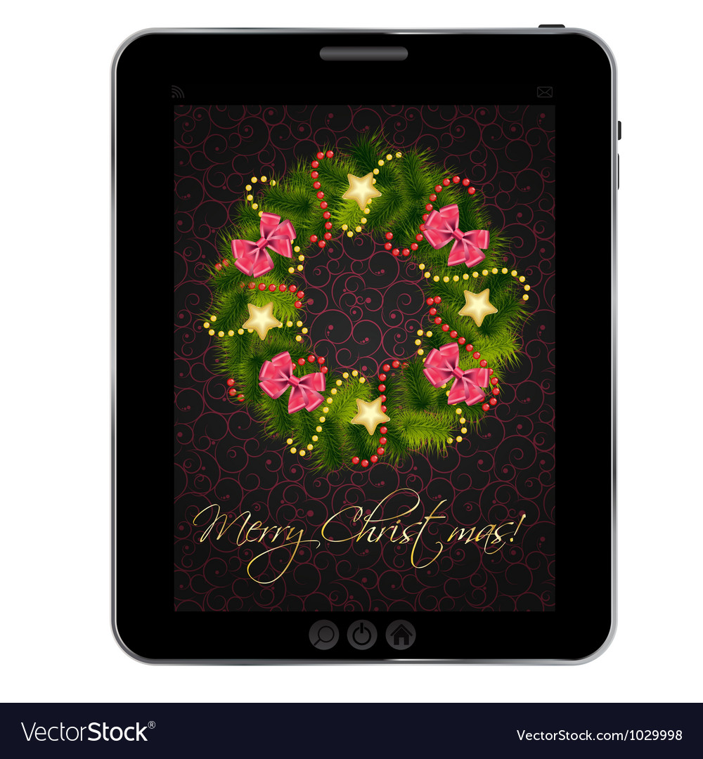 Realistic christmas wreath on vintage background vector   Price: 1 Credit (USD $1)