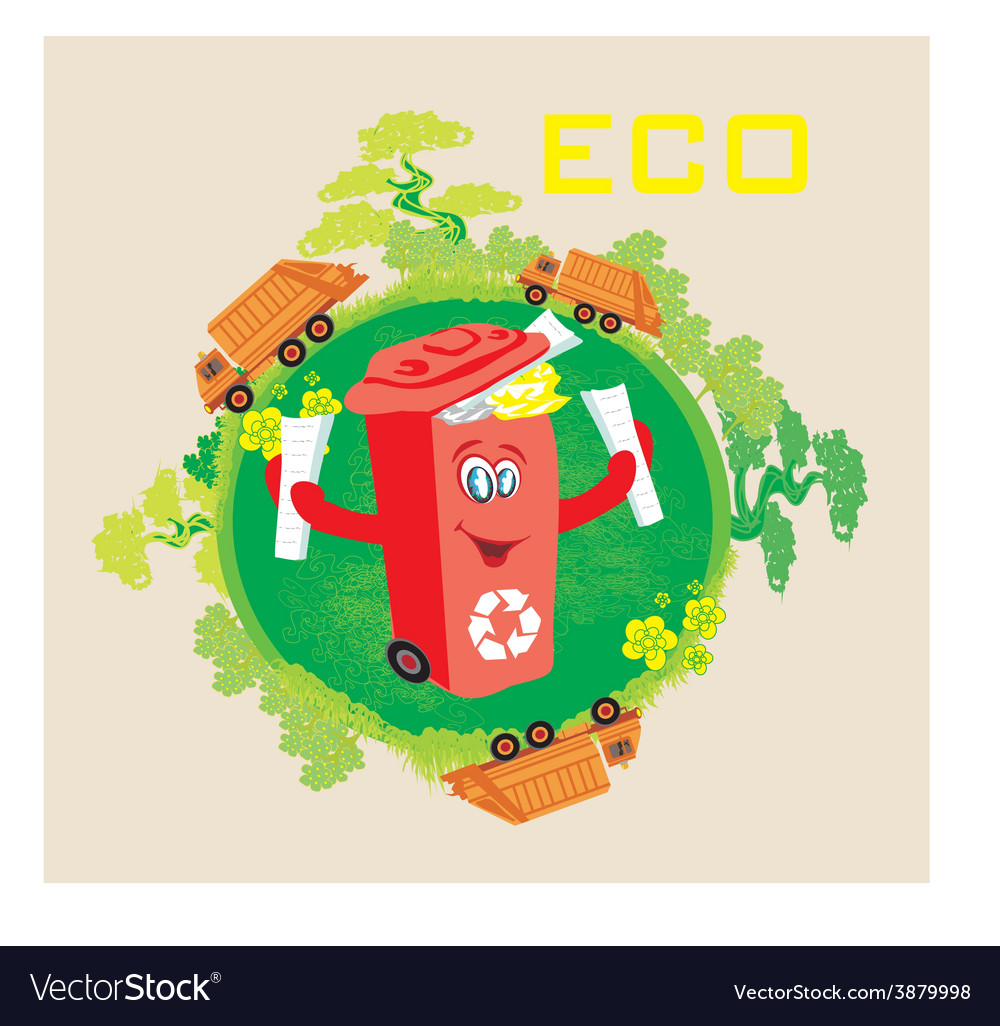 Recycling red bin with papers ecology concept with vector | Price: 1 Credit (USD $1)