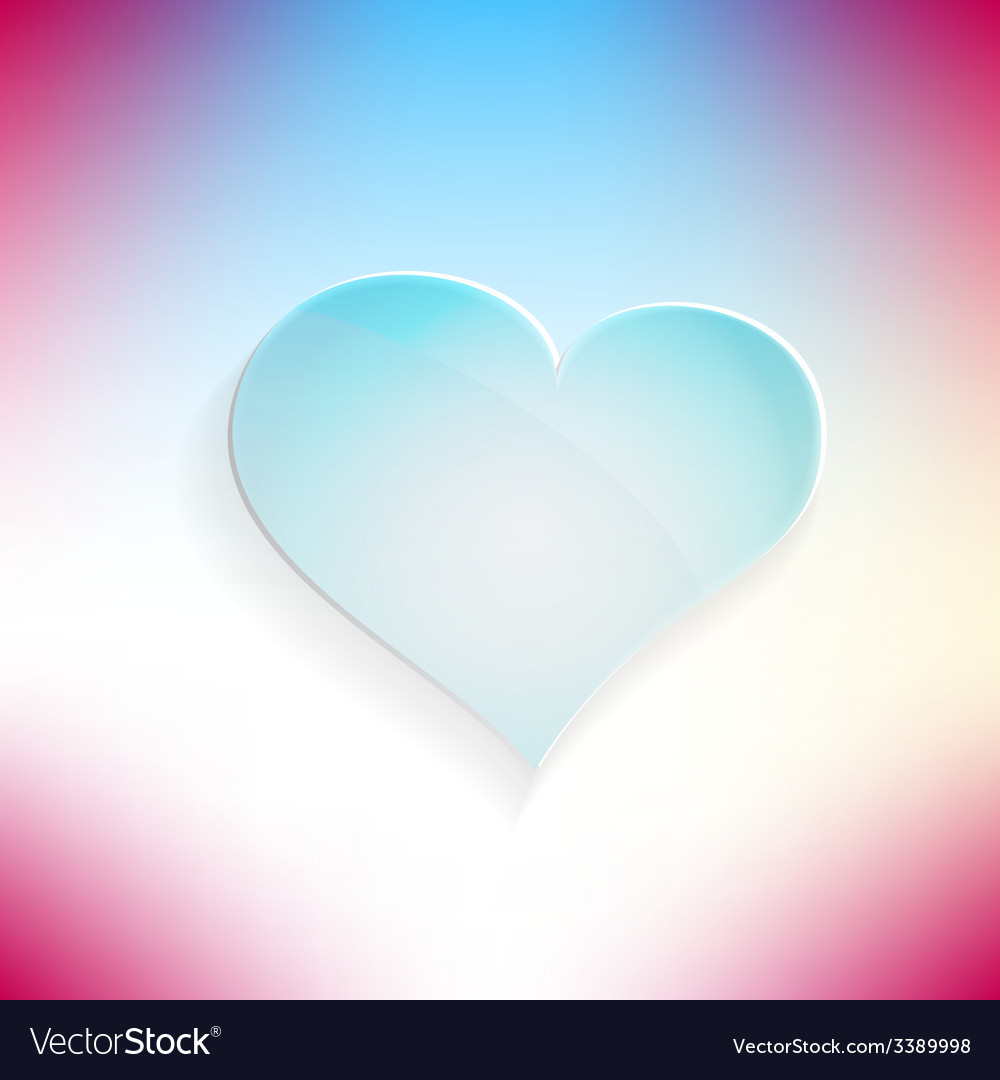 Red heart glassy beautiful icon love concept vector | Price: 1 Credit (USD $1)