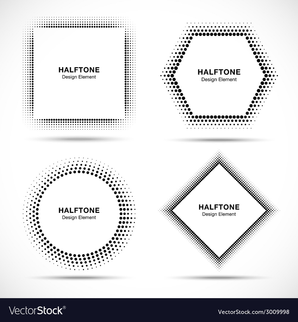 Set of black abstract halftone circles vector | Price: 1 Credit (USD $1)