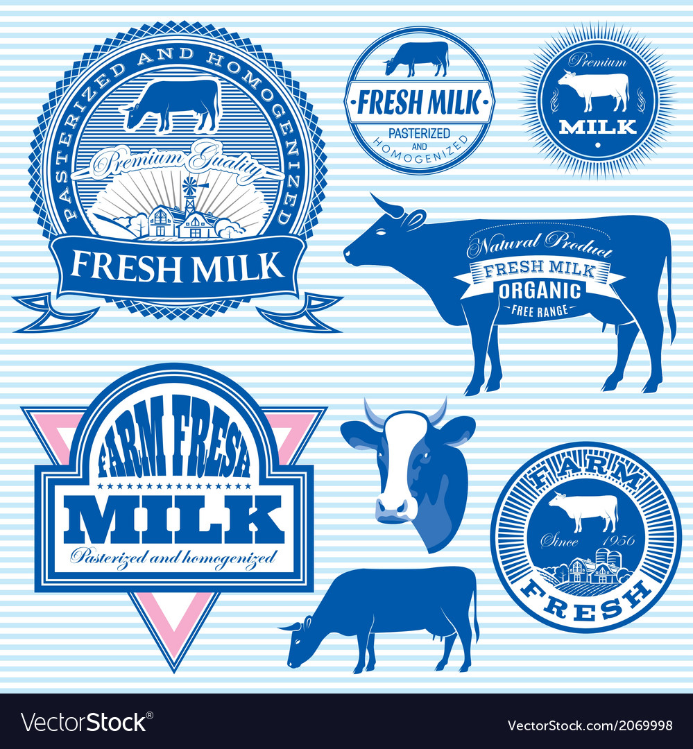 Set of icons on the theme of cows milk vector | Price: 1 Credit (USD $1)