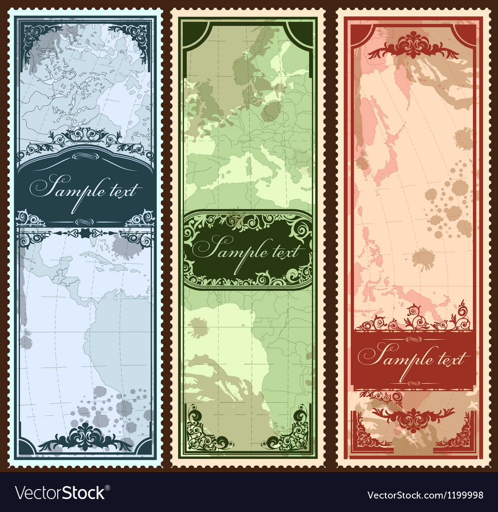 Set of three vintage bookmarks with map parts vector | Price: 1 Credit (USD $1)