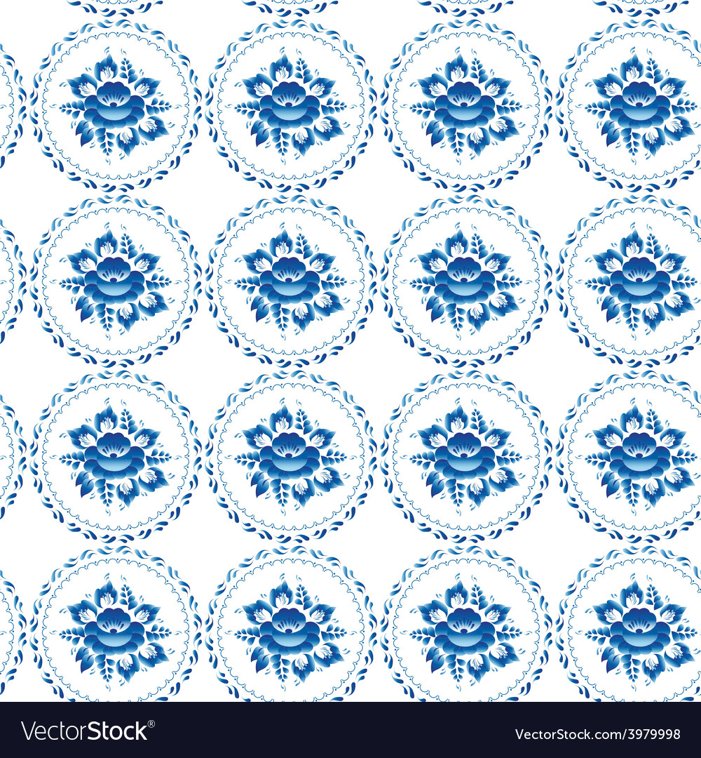 Vintage shabby chic seamless ornament pattern blue vector | Price: 1 Credit (USD $1)