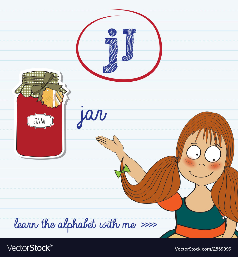 Alphabet worksheet of the letter j vector | Price: 1 Credit (USD $1)