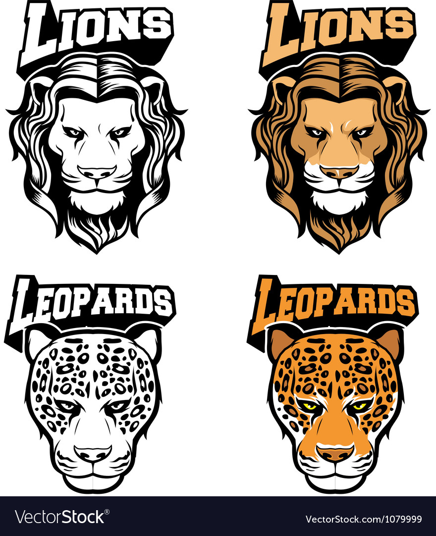 Big cat head set vector | Price: 3 Credit (USD $3)