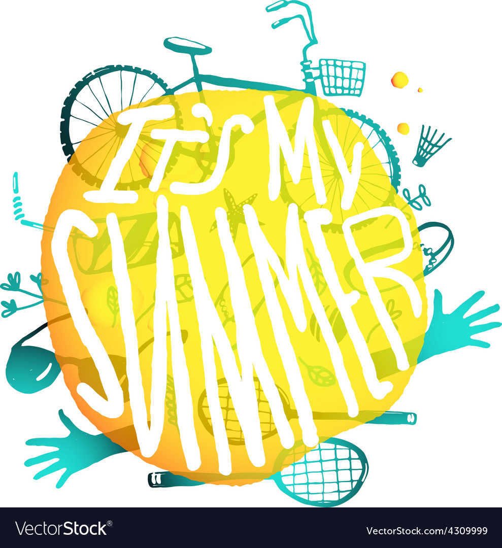 Bright yellow bubble design with active summer vector | Price: 1 Credit (USD $1)