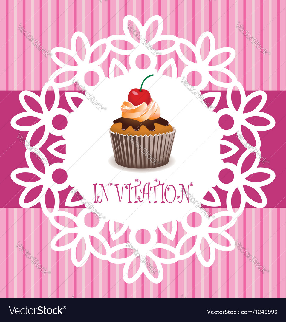 Card with cupcake vector | Price: 1 Credit (USD $1)