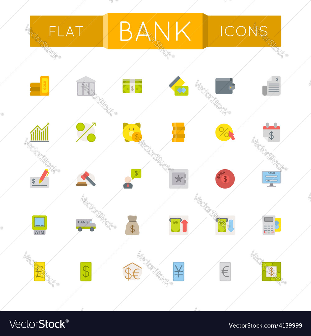 Flat bank icons vector   Price: 1 Credit (USD $1)