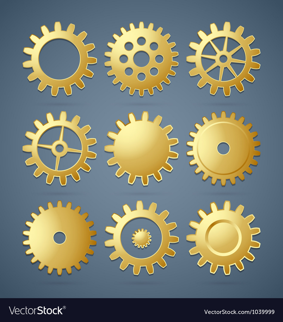 Golden cogwheels vector | Price: 1 Credit (USD $1)