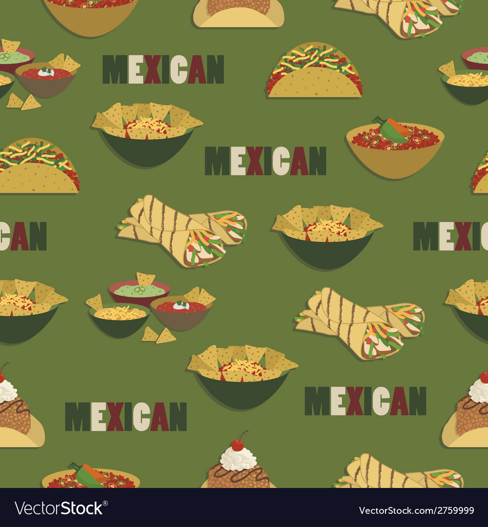 Mexican food pattern vector | Price: 1 Credit (USD $1)