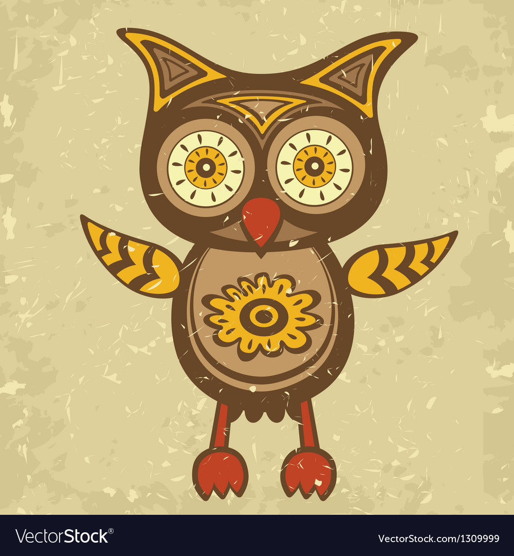 Old style owl vector | Price: 1 Credit (USD $1)
