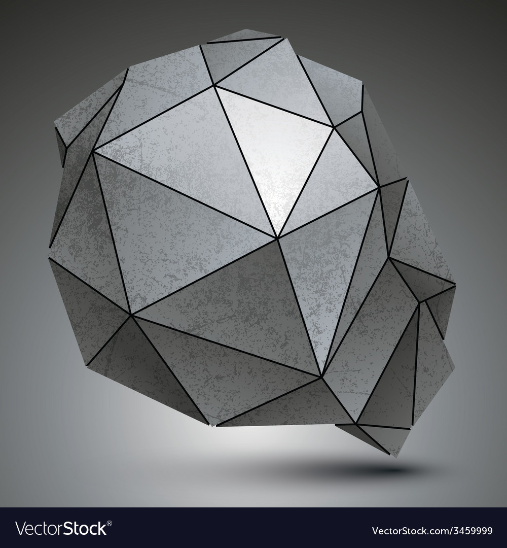 Polygonal galvanize 3d abstract object grayscale vector | Price: 1 Credit (USD $1)