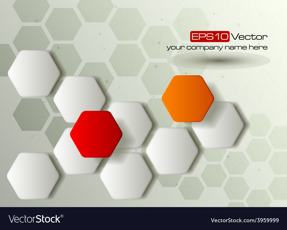 Red and orange hexagons technology background vector | Price: 1 Credit (USD $1)