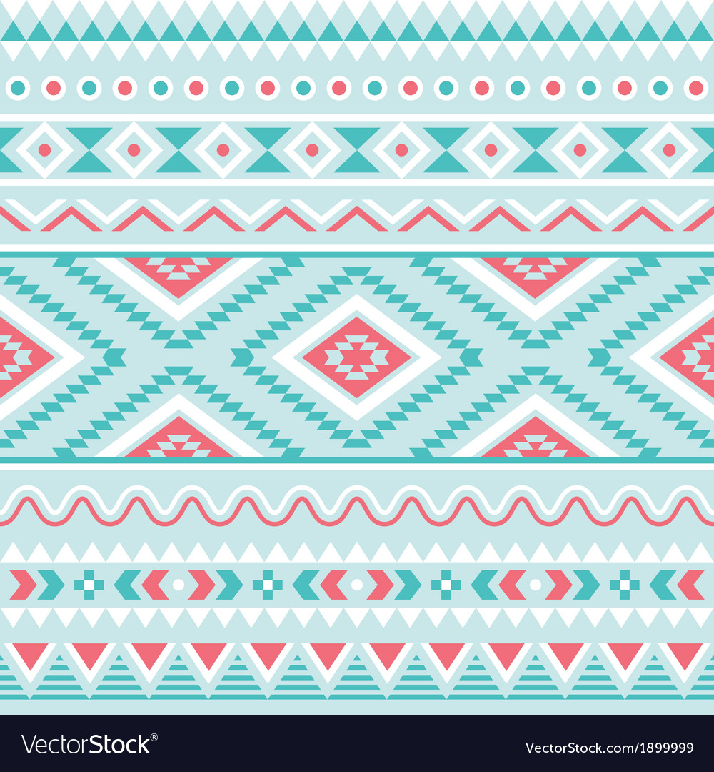 Tribal seamless pattern aztec blue background vector | Price: 1 Credit (USD $1)