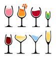 Set of wine glass vector