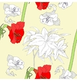 Seamless pattern with amaryllis and flowers-02 vector