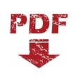 Red grunge pdf download logo vector