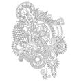 Black line art ornate flower design vector