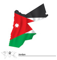 Map of jordan with flag vector