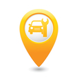 Car service icon on yellow map pointer vector