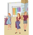 Retro girls in the store picking clothes vector